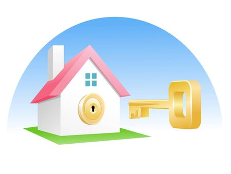 pent: An illustration of golden key and home lock Stock Photo