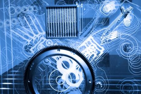 Modern automotive v6 engine conceptual model