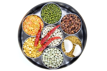 Healthy colorful raw food grains of India photo