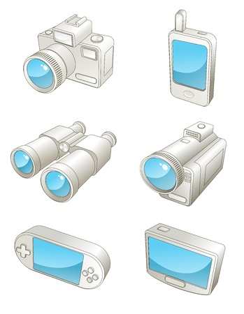 An illustration of different  travel electronic gadgets