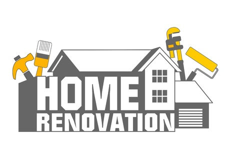 home repair: An illustration of home renovation icon and tools