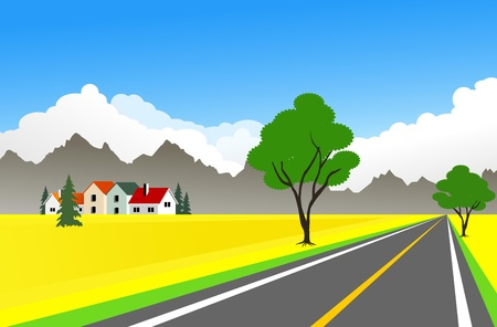 An illustration of scenic farm landscape and high way