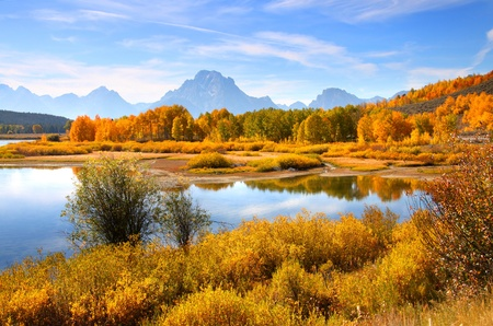autumn landscape in Grand Tetons from Oxbow bend