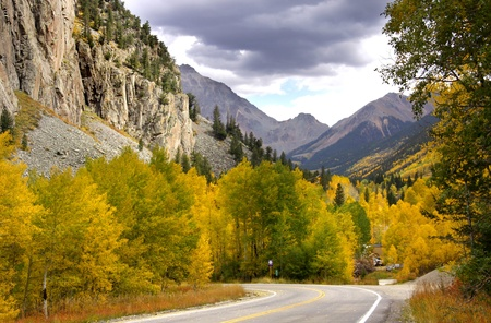 Scenic drive in Rocky mountains in Colorado photo