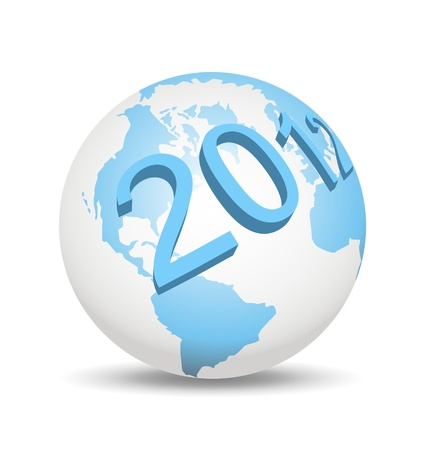 An illustration of 3d year 2012 on globe illustration