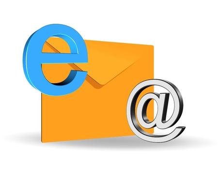 An illustration of elegant 3d e-mail icon illustration