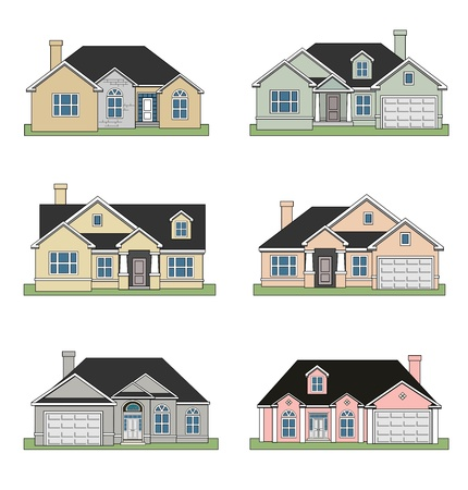 illustration of Six different beautiful ranch homes Stock Photo