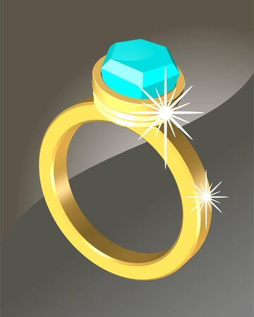 Golden ring with blue crystal Stock Photo - 11223968