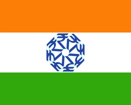 Indian flag with rupee wheel