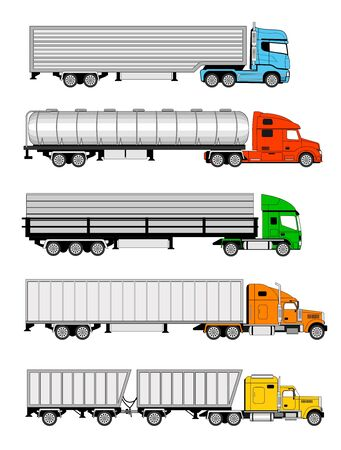 illustration of five different type of colorful trucks