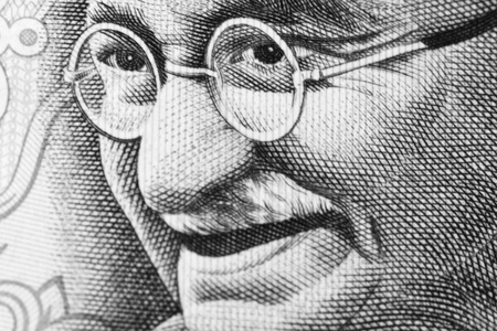 lithography: Close up shot of Gandhi on rupee note Stock Photo
