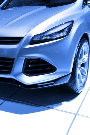 Front end of concept car in blue color tone photo