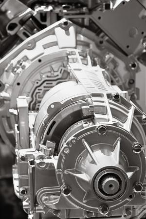 Close up shot of automobile engine crank case