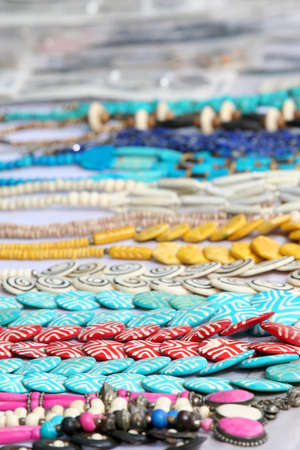 Assorted artistic garlands and bracelets made with beads Stock Photo - 11972430