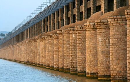 Historic Prakasam barrage bridge in India Stock Photo - 11972421