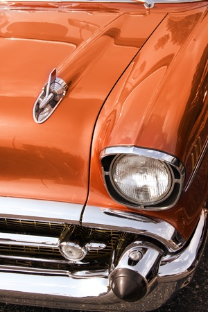 chrome: Close up shot of Classic car front end Stock Photo