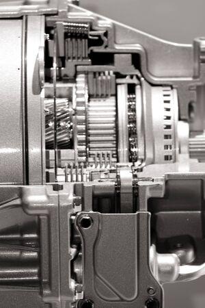 Close up shot of automotive transmission cut section photo