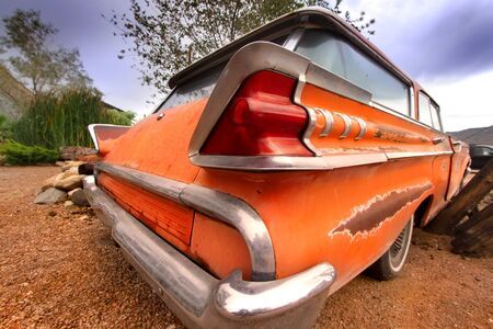 abandonment: Rustic car on historic route 66