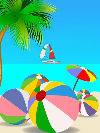 An illustration of several beach balls on beach Stock Illustration - 12034926