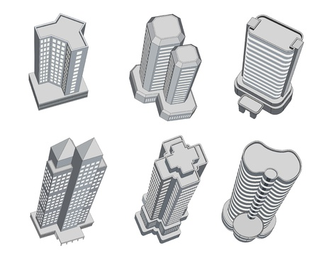 Tall building icons with perspective views Stock Photo - 12034929