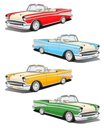 street rod: Set of four classic car illustration