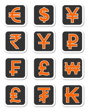 An illustration of Major currency symbols of different countries Stock Illustration - 12034924