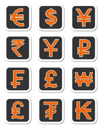 Eine Darstellung der wichtigsten Währungsräumen Symbole der verschiedenen Länder Standard-Bild - 12034924