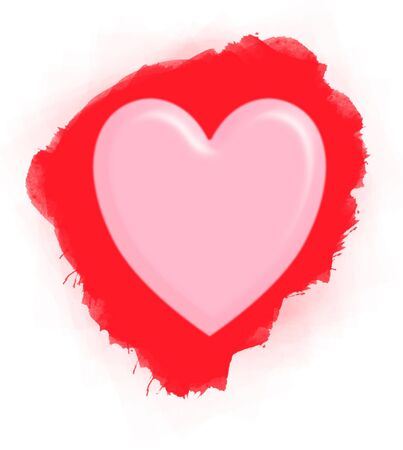 Pink heart on red water color background Stock Photo - 12034909