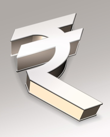 3D illustration of Indian rupee symbol