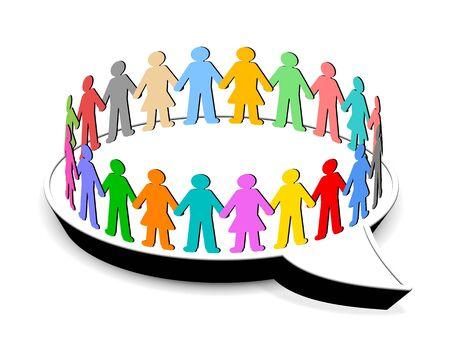 Mensen staan in cirkel op de tekstballon Stockfoto