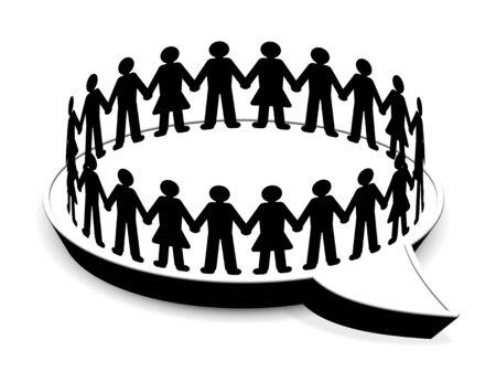 Mensen staan in cirkel op tekstballon