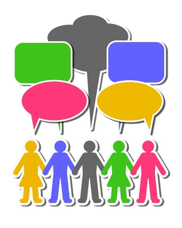 Social media people with speech balloons photo