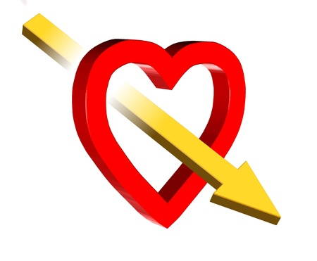 3D valentine illustration of red heart and yellow arrow Stock Photo