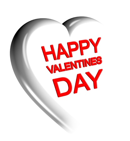 3D white heart with Happy Valentines day text Stock Photo - 12034918