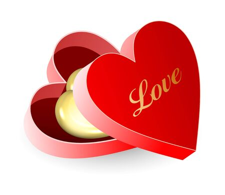 Red heart shape gift with golden heart Stock Photo - 12034917