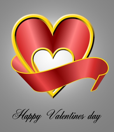 Shiny 3d heart shape with ribbon Stock Photo - 12034919