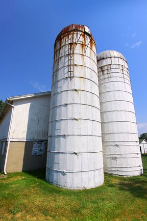 Old barn with twin towers  photo