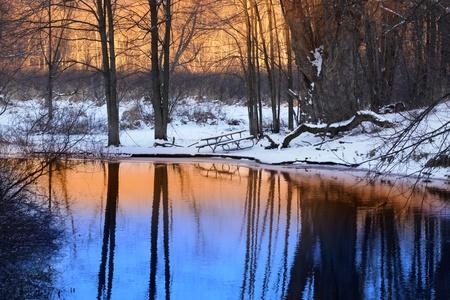zonlicht reflectie in de kleine vijver Stockfoto