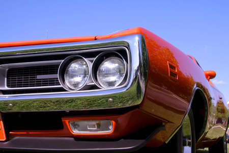 front end: Close up shot of front end of muscle car Stock Photo