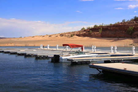 Single boat in the dock that is in the middle of desert Stock Photo - 12429267