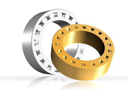 concision: An illustration of two shiny 3d bearings