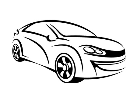 My own car concept in line art 版權商用圖片 - 12902716