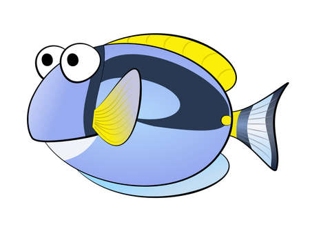 yellow tang: An illustration of Small blue little fish