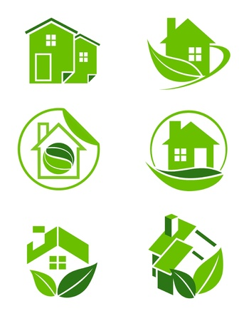 An illustration of six environmental friendly green home icons  illustration