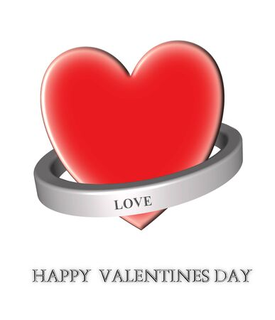 love wallpaper: 3d heart and shiny metal ring around it