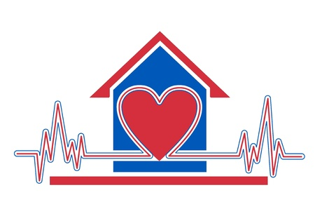 nurse home: An illustration of home health care icon Stock Photo
