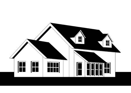 An illustration of home icon in black and white Stock Illustration - 12902712