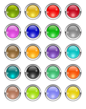 chrome button: An illustration of glossy buttons in different colors