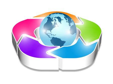 3d shiny arrows around the globe Stock Photo - 12902718