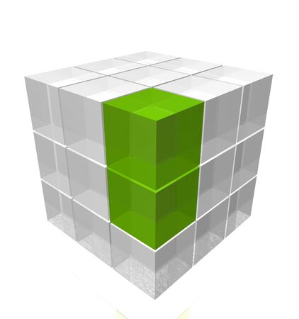 Stack of white and green glass cubes photo